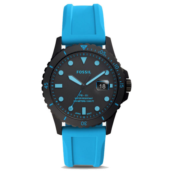 DONG-HO-NAM-FOSSIL-Sport-Black-Blue-Neon-Silicone-FS5682